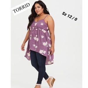 Torrid Lexie Purple Floral Georgette Babydoll Cami